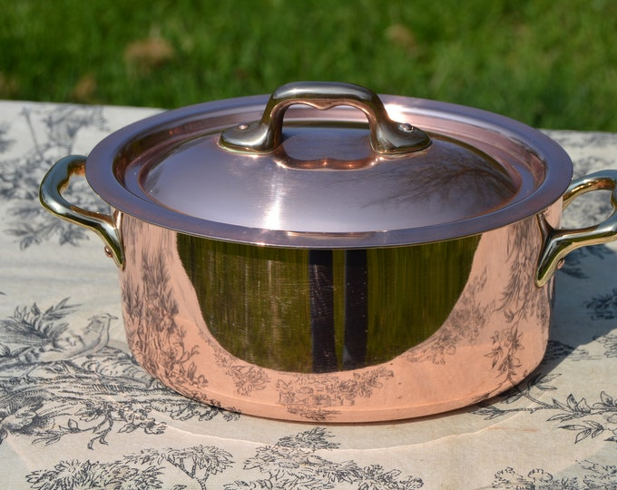 """French Copper Pan Copper Pot Oval Dutch Oven Casserole Lid Stamped Made in France 1.6mm Faitout Pot 16cm 6 1/4""""  Copper Kitchen Good Tin"""