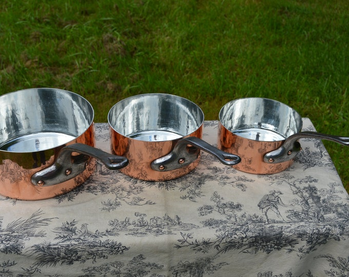 Vintage French Copper Pans 1.6-1.9mm Three Pan Set Made in France New Villedieu Tin 22cm, 18cm and 16cm Pots Iron Handles Good Solid Rivets