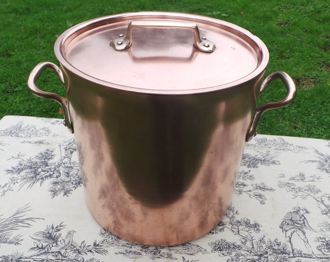 French Antique Copper Stock Pot Marmite Faitout Big Pan Very Old Very Loved All Solid Copper Quality Antique Piece 24cm Seasoned Dark Tin