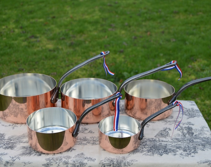 New NKC Copper Pans New Set Graduated 12cm-20cm Tin Lined Copper Saucepans Iron Handles Steel Rivets NKC New Copper Set of Perfect 1mm Pans