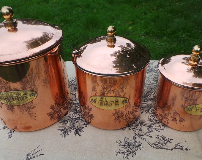 Three Vintage Copper Canister Containers Good Lids Clean Interiors Cafe Sucre The Fully Marked Excellent Condition