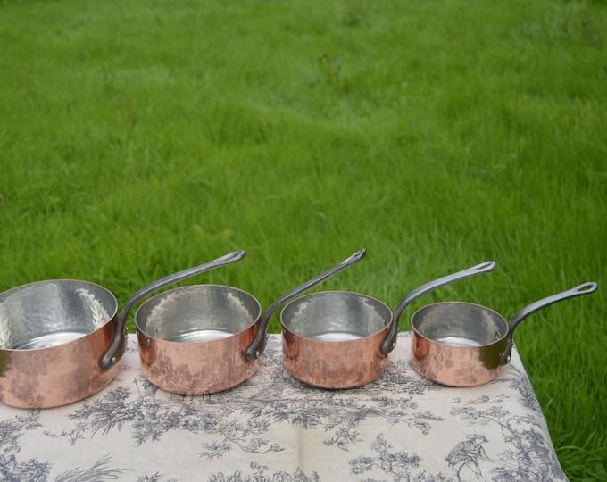 Copper Pans 4 1.9-2mm Vintage French Copper Set Four Graduated French Vintage Hammered Nickel Lined Set 12cm - 18 cm Minor Darkening