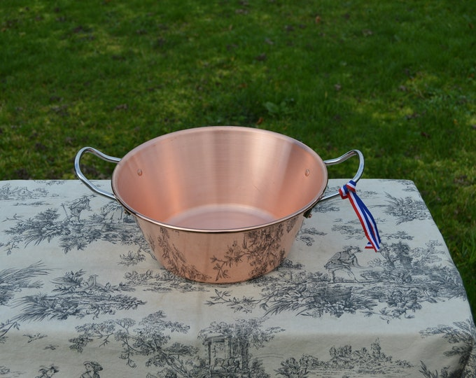 "New NKC 28 cm Copper Jam Pan Normandy Kitchen Copper Jam Jelly Pan 28cm 11"" Rolled Top Stainless Steel Handles New Normandy Kitchen"