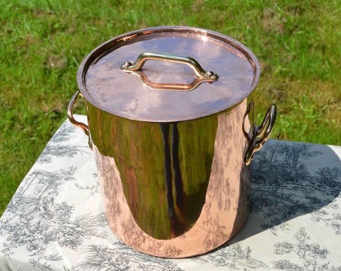 Antique Copper Pan New Atelier du Cuivre Tin French Copper Stock Pot Marmite Faitout Pan Refurbished All Solid Copper Quality Villedieu Pan