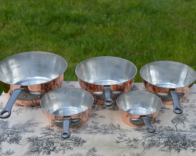 Vintage Copper Pans 5 L Lecellier Tin Lined Five 12cm-20cm Vintage French Copper Professional 1.7-1.9mm Copper Cast Iron Handles Unused