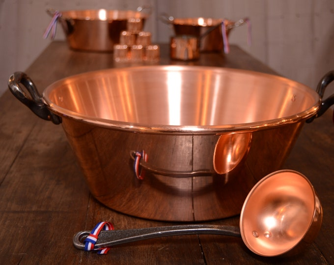 "New NKC 40 cm Copper Massive Jam Pan + Ladle from Normandy Kitchen Copper Jam Jelly Pan 40cm 15 3/4"" Rolled Top Iron Handles New NKC Jam Pot"