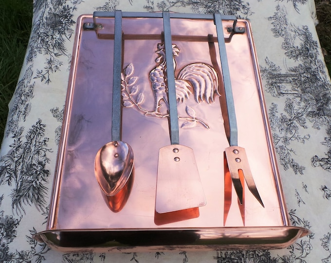 Copper Utensils Quality Vintage French Copper Bronze Heavy Set of Copper Kitchen Utensils Hanging Rail Drip Tray Egouttoir a Cuilleres