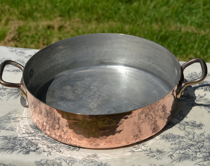 """Vintage Rondeau Saute Pan 28.5cm 11 1/4"""" French Copper Rivets Hammered Bronze Handle 2mm Made in France Good Tin Rondeau Saute Sauteuse"""
