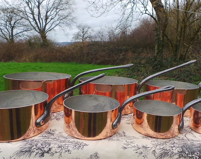 Copper Pans Bespoke Chef's Set Seven Vintage French Professional Graduated Pots Cast Iron Handles Tin Lined 10cm-22cm Direct from France