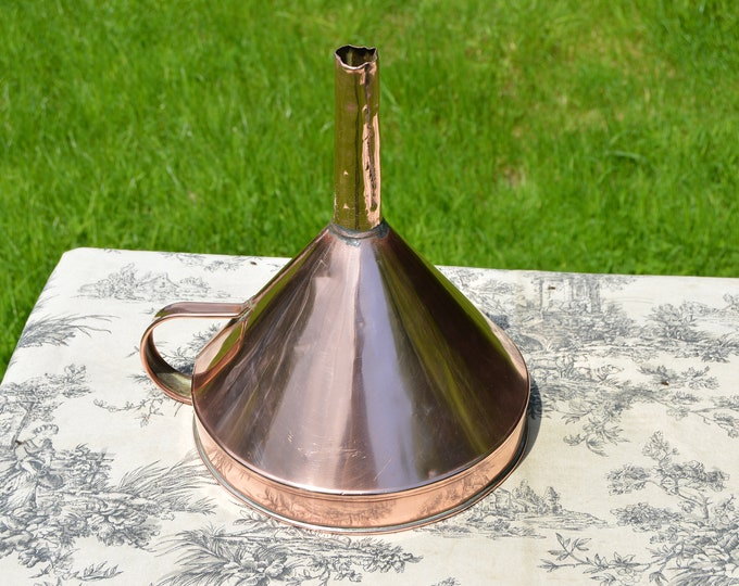 Vintage French Copper Funnel with Handle Rich Patina Tin Lining Solid Copper Funnel Dents Large Copper Funnel Normandy Kitchen