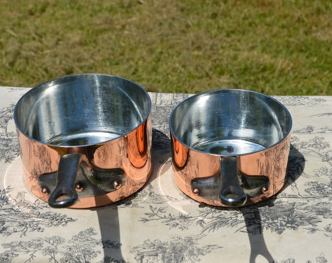 ML VIlledieuTwo 2.4mm 2.6mm Copper Pans New Tin Interiors Vintage French 14cm and 16cm Professional Copper Chef's Pair Handles