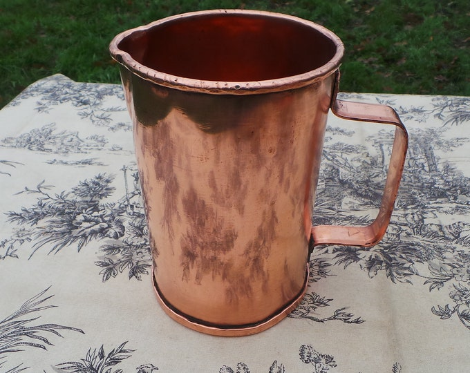 Vintage French Copper Jug Winemakers Copper Pitcher Solid Copper Handle Hand Hammered Artisan Made Water Tight Seamed Joints