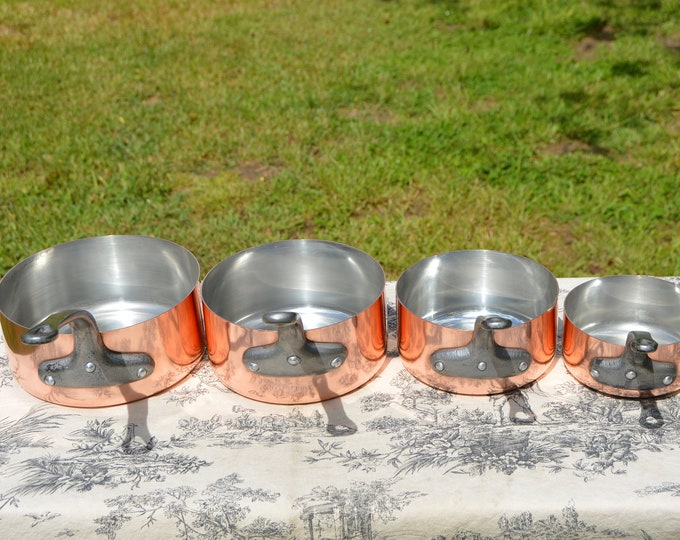 French Copper Pans set of Four Saucepans Set Made In France 1mm Graduated Pans Cast Iron Handles Tin Lined Superb Condition