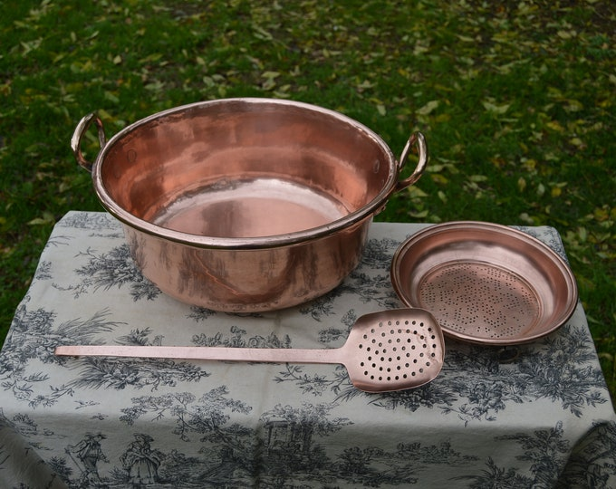 Copper Jam Pan Preserve Pan Set Antique French Jelly Confiture Pan Cast Bronze Handles 39cm Villedieu Made Plus Ecumoire and Jam Sieve