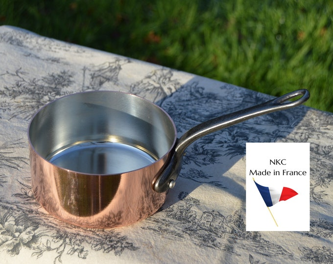 New 14cm NKC Copper Pan Tin Lined 1.5mm Professional Normandy Kitchen Copper Pot Iron Handle Steel Rivets Made in France 14cm 5 1/2 inch Pan