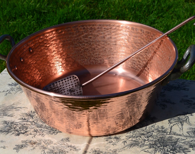 Jam Pan + Utensils Preserve Makers Set French Vintage Copper Jam Jelly Confiture Pan Cast Iron Handles Copper Sieve Ecumoire Hammered  40cm