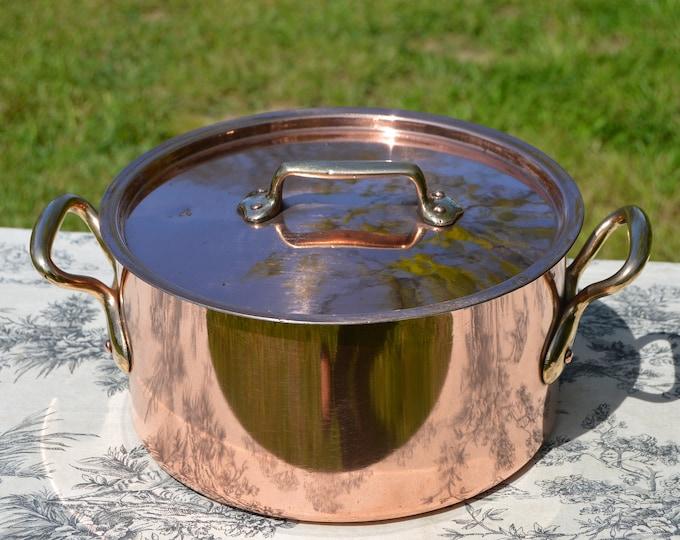 """Copper Faitout Casserole New Tin Villedieu Made Stamped 24 Vintage Copper Pot Rondeau Dutch Oven Lid 1.7mm Round 24cm 9 1/2"""" Big Pot"""