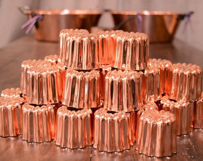 """48 Copper Caneles NKC Medium 4.5 cm 1 3/4"""" Canelés Bordeaux 48 Bordelais Cake  Normandy Kitchen Copper Canelés Canneles Canelles Wholesale"""