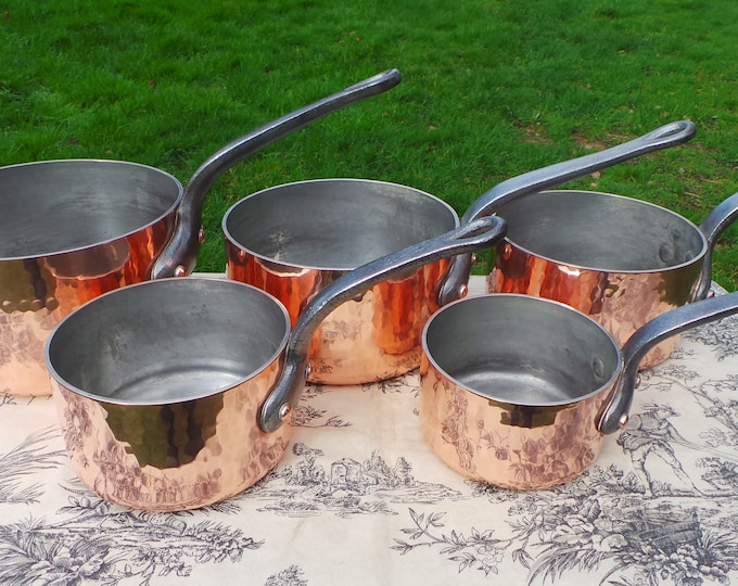 Copper Pans 3mm Copper Vintage French Copper Professional Full 3mm Graduated Pans Set of Five Cast Iron Handles Tin lined Interiors Hammered