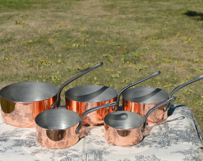 Vintage 1.7mm Set Five Graduated French Copper Pans Quality Copper Pots and Pans Hand Wiped Tin Linings Superb Condition