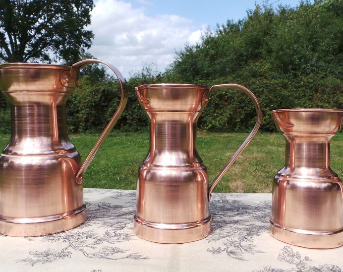 Copper Pitchers Vintage French Copper Set Three Graduated Copper Mugs Cups Tankards Copper Handles Good Decorative Set Refurbished Polished