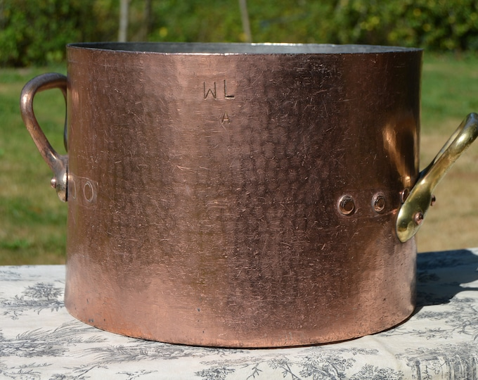 Wagons-Lits French Copper Pan 3.2mm Faitout Marmite Rondeau Antique Big Pot Refurbished Kitchen Quality Very Well Used Replacement Handles