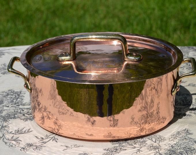 """Rene Krauss Vintage French Copper Casserole Pan Pot Strasbourg Dutch Oven Lid Faitout 1.5mm Oval 20cm 8"""" New Atelier du Cuivre Tin"""