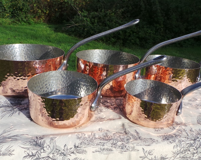 Vintage French Copper Pans Factory Tin Refurbished 1mm Set Five Graduated French Copper Pans Quality Hammered Bodies Exceptional Condition