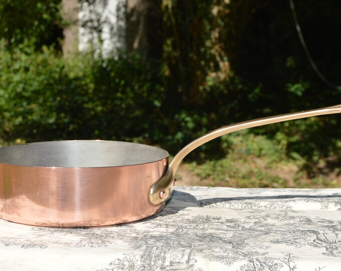 1.2mm Copper Frying Saute Skillet Copper Pan Vintage Copper Kitchen Staple Beautiful Condition 8 5/8 inch 22cm Refurbished Good Tin