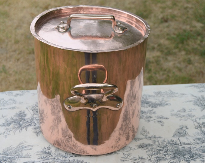 French Antique Copper Stock Pot Marmite Faitout Big Pan Very Old Very Loved All Solid Copper Quality Antique Piece 26cm Seasoned Dark Tin