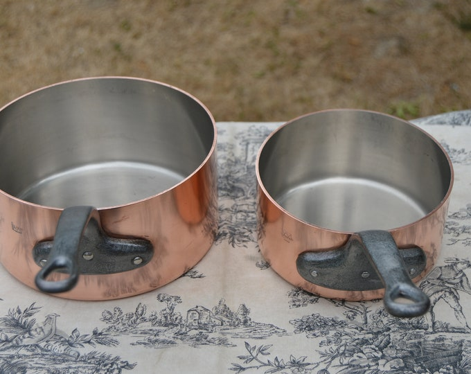 Tournus Vintage French 2.25mm Two Pans 16cm and 20cm French Copper Pans Quality Copper Pots and Pans Nickel Linings Normandy Kitchen
