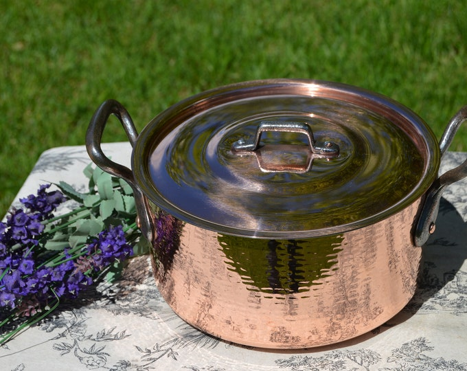 """Vintage Faitout Round Pot French Copper Casserole with Lid 1.9mm New Hand Wiped Artisan Tin Good Size 24cm 10 1/4"""" Vintage Dutch Oven"""