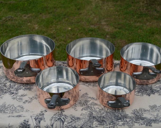 Copper Pans Havard of Villedieu Tin Lined  Copper Five 2 -2.2mm Vintage French Copper Professional Villedieu Graduated Pots Handle Dents
