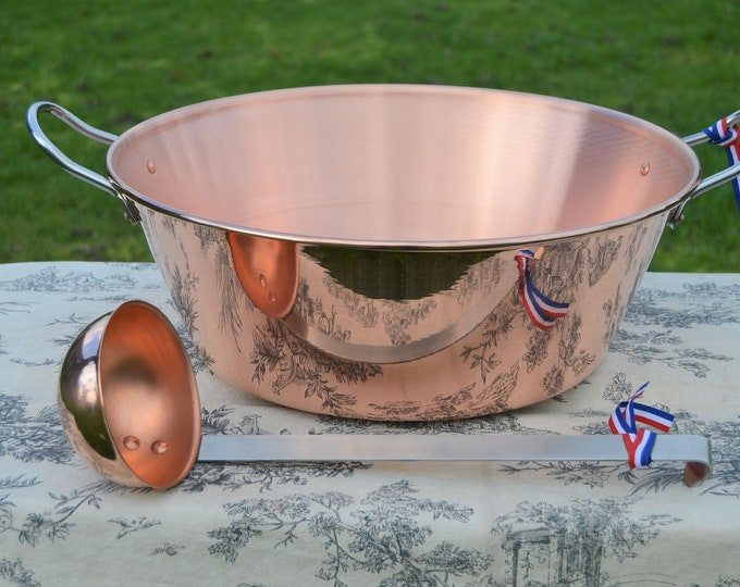 New NKC 38 cm Copper Jam Pan from Normandy Kitchen Copper Jam Jelly Pan 38cm 15 Inch Rolled Top Stainless Handles Ladle New Normandy Kitchen
