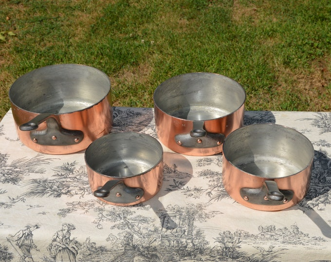 Copper Pans L Lecellier Tin Lined Four 12cm to 18cm Vintage French Copper Professional 2mm Copper Cast Iron Handles Very Well Used