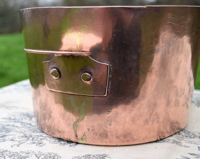 Antique French Copper Bain Marie Double Boiler 1 mm Tin Lined High Sided Pan 'Little Ear Handles' Working Antique Wolf's Teeth Joints