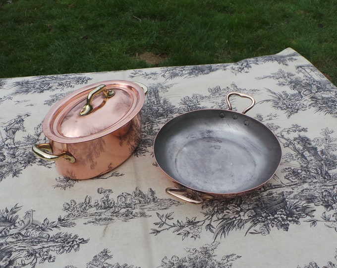 Made in France Vintage French Copper Small Casserole and Small Au Gratin Bronze Handles Tin Lined Copper Rivets Bronze Handles