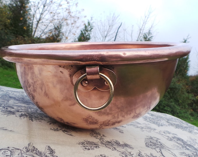 "Copper Bowl Cul De Poule 27cm 11"" Big French Copper Full Round Mixing Bowl Bronze Ring Handle Heavy Solid Rolltop Ring Fabulous Condition"