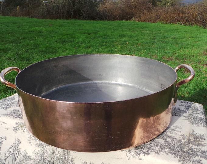 French Antique Copper 50cm MASSIVE Rondeau Pot Marmite Ragout Faitout BIG Pan Good Tin Refurbished All Solid Copper Quality Pot