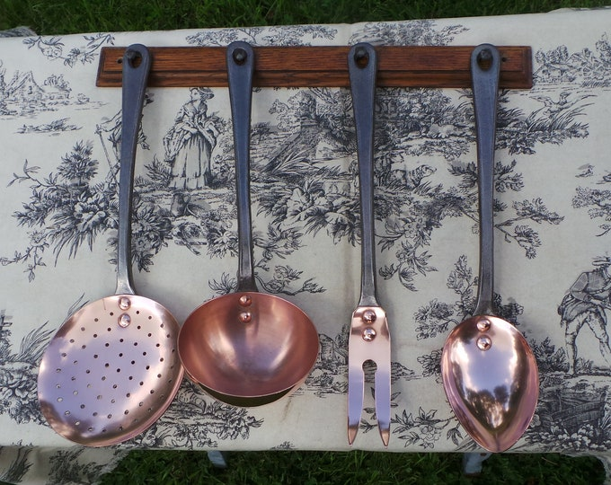 Quality Vintage French Copper and Cast Iron Heavy Set of Utensils Kitchen Four Magnificent Set NEVER Used Havard Of Villedieu Plus Oak Rail