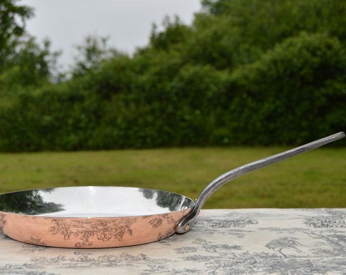 Vintage Copper Pan New Atelier du Cuivre Villedieu Tin BIG French Saute Pan 1.9mm Fry Saute Cast Iron Handle Steel Rivets 26cm Pan