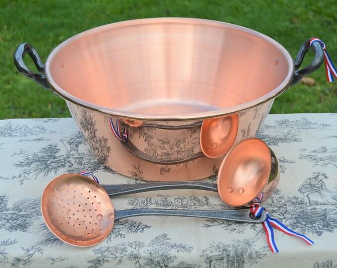"""New NKC 40 cm Copper Massive Jam Pan + Ecumoire + Ladle Full Preserves Set Jelly Pan 40cm 15 3/4"""" Rolled Top Iron Handles New NKC Jam Pot"""