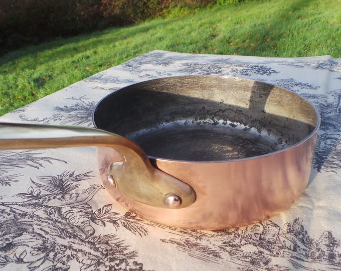 "SOPAD, Grands Utilsateurs, 1.6MM Solid French, Copper Saute Poele ,Cast Brass Handles Tin Lining,16 cm 6 1/4"", Vintage Fry Pan, 6096"