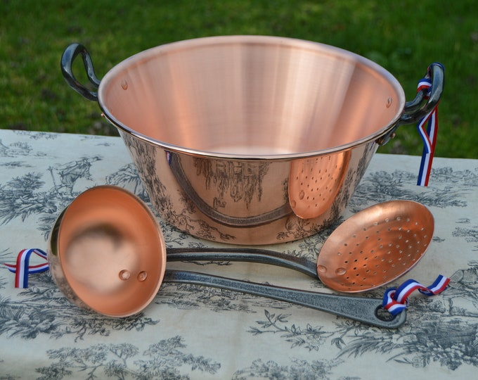 "New NKC 28cm Copper Jam Pan Set Ecumoire and Louche NKC Normandy Kitchen Copper Jam Jelly 28cm 11"" Rolled Top Iron Handles New NKC Copper"