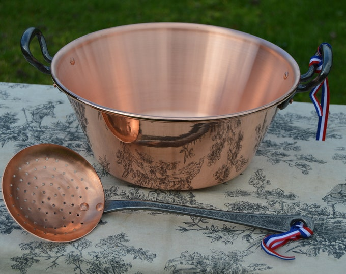 "New NKC 28cm Copper Jam Pan with Ecumoire NKC Normandy Kitchen Copper Jam Jelly 28cm 11"" Rolled Top Iron Handles New Normandy Kitchen Copper"
