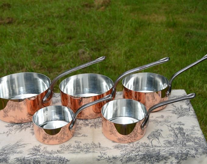 Copper Pans New Villedieu Tin Lined Copper Five 1.3 -1.7mm Vintage French Copper Professional Villedieu Graduated Pots Hammered Rivets