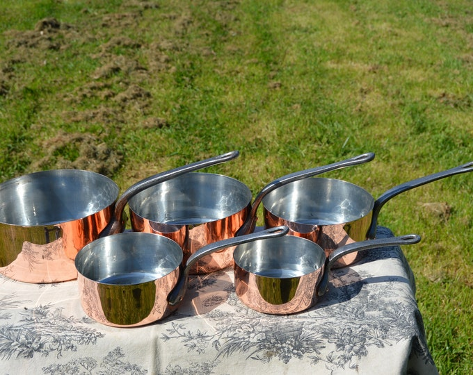 GAOR Five 1-1.1mm Vintage French Copper Set Five Graduated Tin Lined Copper Pans Fabulous Hammered Bases 12cm-20cm Professionally Polished