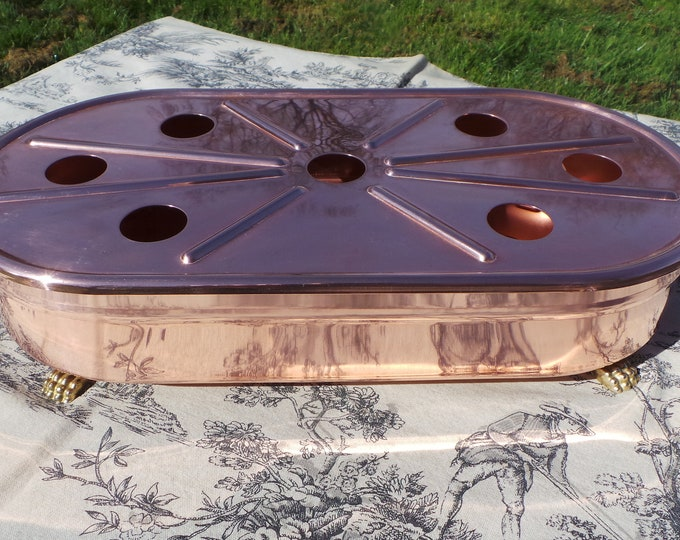 Copper Food Warmer French Vintage Cast Brass Lion Feet Cast Brass Handles Copper Kitchen Plate Warmer Heavy Good Condition