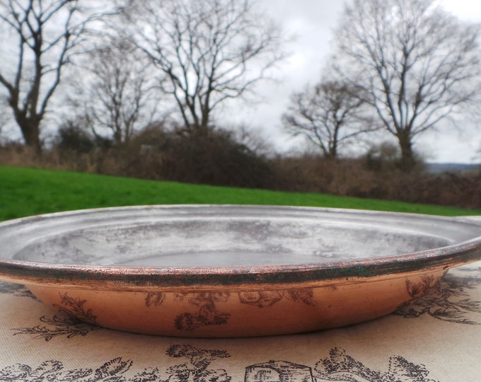 "French Antique Copper Gratin Oven Dish Pie Dish 25cm 10"" Super Antique Copper No Handle Fabulous Patina 'Pie Dish' Oven Dish Pie Plate"