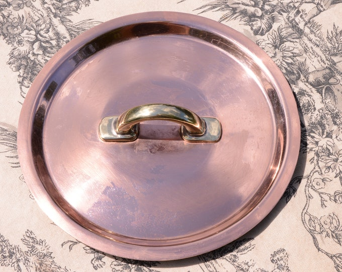 """Vintage Copper Lid Flat Fitted Lid Bronze Handle Copper Rivets 18.5cm 7 1/4"""" Made in France Unmarked Classic Fitted Lid Tin Lined"""